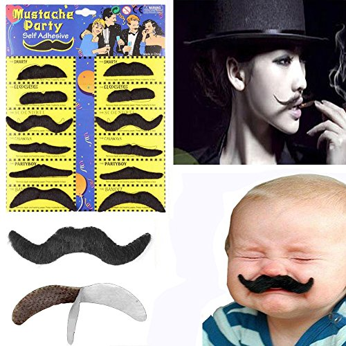 Unetox Black Sticker Fake Mustache for Party Performance Supplies Decorations ()