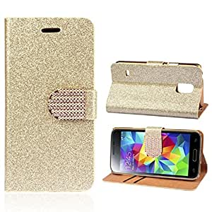 Lowpricenice(TM) 1PC Lady Bling Luxury Crystals Glitter Wallet Flip Case Cover For Samsung Galaxy S5 Mini (Gold)
