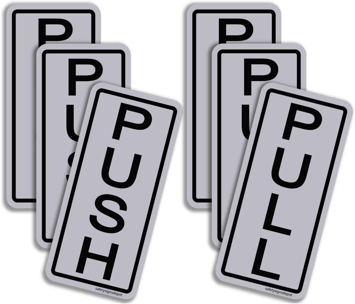 Push Pull Door Sticker Signs Vertical 2 x 5 Pack of 3 - Adhesive Vinyl Decals UV Laminated for Business, Store and Office (3)