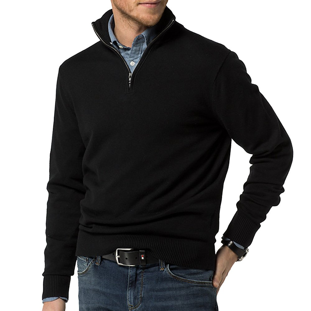 Just No Logo Men's Relaxed Fit Quarter Zip Sweater Pullover(Black, XL)