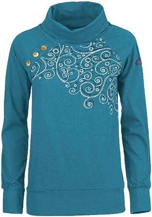 E9 – Camiseta de mujer de manga larga de cáñamo sara – azul oscuro