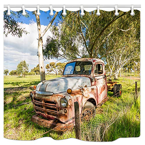 JAWO Vintage Shower Curtain, an Old Rusted Out Abandoned Truck Rests on The Roadside Bath Curtain, Polyester Fabric Bathroom Shower Curtain with Hooks 69x70Inches, Bathroon Accessories