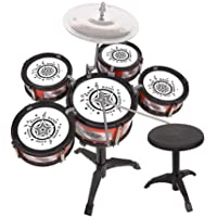 Zerodis Kids Jazz Drum Toy Set, Miniature 5 Drum with Chair Juguete Educativo Educativo temprano para niños