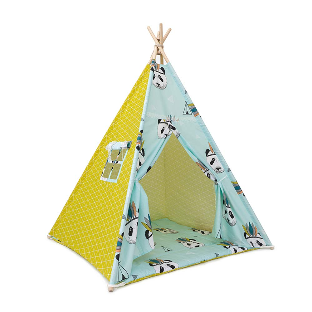 インドの子供のテント、屋内パンダシリーズ子供のおもちゃの家、綿布グリーン印刷と染色コーナーを修正 B07P7298PJ