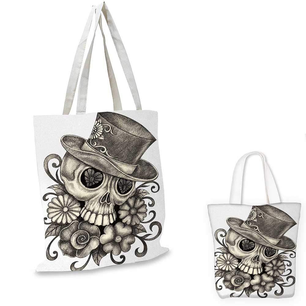 Day Of The DeadPainting スカル フラワー Dia de Los Muertos お祝い デザイン プリントディムグレーとホワイト 15