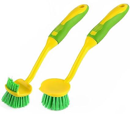 amazer dish brush kitchen scrub bathroom brushes with scraper tip rh hclima cl Wooden Kitchen Brush Amish Kitchen Dish Pads