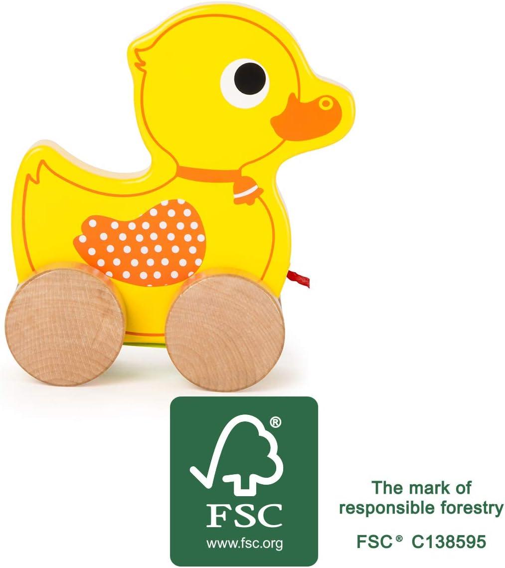 Ziehspielzeug aus Holz FSC/® 100/%-zertifiziert mit S/ü/ßem Entchen auf vier Naturbelassenen R/ädern und Langer Schnur zum Hinterherziehen