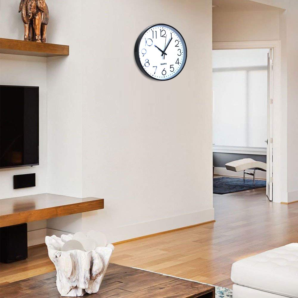 TOHOOYO Wall Clock 12 Large Number Display Silent Non-Ticking Quartz Wall Clock Round Clock Home Decor Battery Operated Sliver