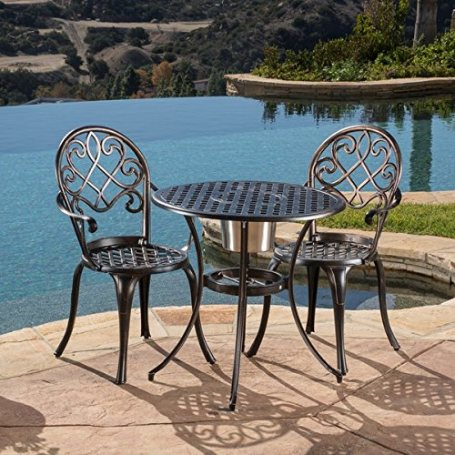 Stunning antique style intimate table set aluminum and - Old fashioned patio furniture ...