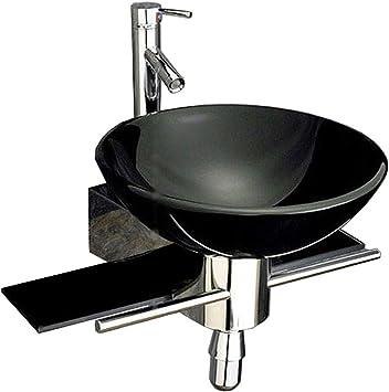 22 In Wide Bathroom Vanity And Sink Combo Tempered Glass Top Black Vessel Sink Set Amazon Com