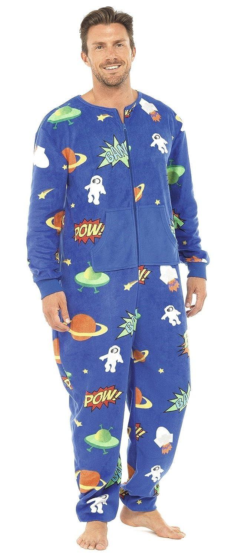 Tom Franks Herren Printed Pow All In One Schlafanzug Pyjama Pjs Onezie Fleece
