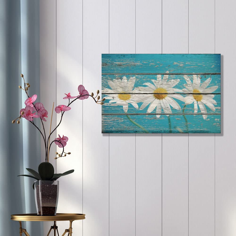 Made With Love, Dazzling Expert Craftsmanship, Flowers on Sky Blue Vintage Wood Wall Decor