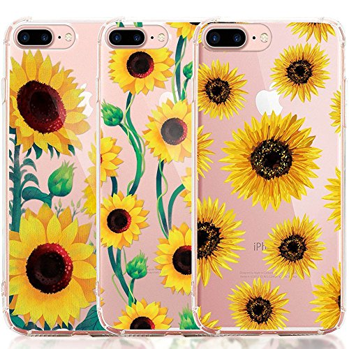 iPhone 8 Plus Case, iPhone 7 Plus Case, [3-Pack] CarterLily Watercolor Flowers Floral Pattern Soft Clear Flexible TPU Back Case for iPhone 7 Plus iPhone 8 5.5 - Sunflowers