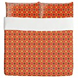 African Geometry Duvet Bed Set 3 Piece Set Duvet Cover - 2 Pillow Shams - Luxury Microfiber, Soft, Breathable