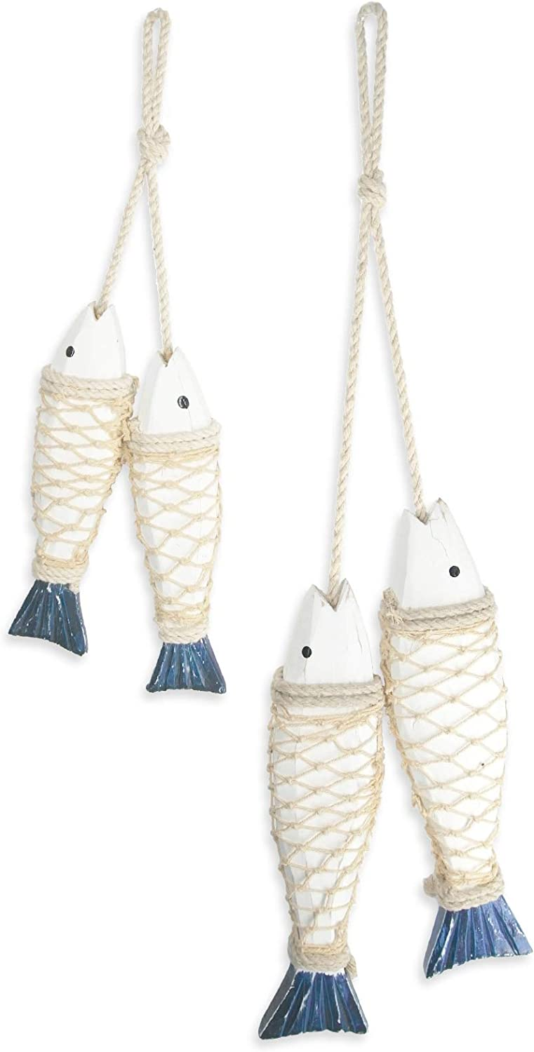 ESTART 2 Sets of Hanging Wooden Nautical Fish Decoration, Wall Decoration Door Hanging Beach Theme Decor for Home, Mediterranean Style Home Ornament (S+L)