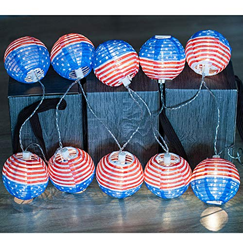 Twinkle Star 10 LED DIY American Flag Lights Lantern String Lights Fabric Waterproof Decorative String Lights for July 4th,USA American Independence Day, Party, Holiday, Festival Decoration