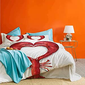 Sea Animals 3-Piece Duvet Cover Set A Boiled Lobster Shaped as A Heart Symbol Seafood Love Valentines Restaurant Menu Art Simple Bedding Decorative Red   1 Duvet Cover + 2 Pillow Shams X-Long Twin