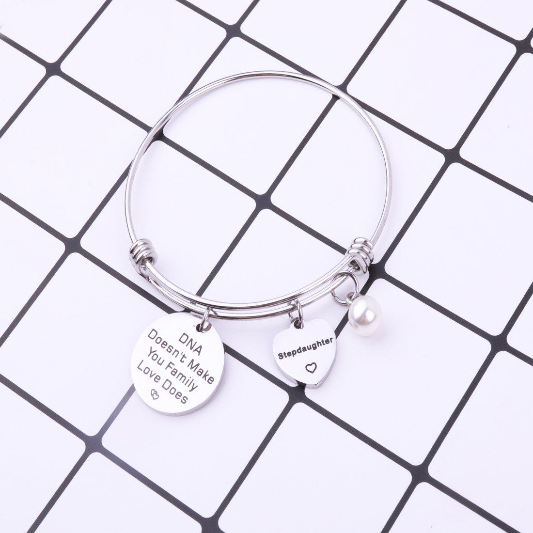REEBOOOR Adoption Gift Stepdaughter Bracelet DNA Doesnt Make You Family Love Does Gift for Adoption,Stepchild