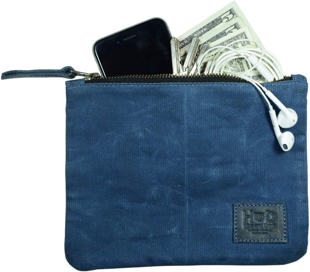 Hide & Drink, Waxed Canvas Zippered Pouch, Multipurpose Bag, Lightweight Case, Accessories, Handmade :: Blue Mar