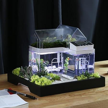 Acrylic Mini Micro Landscape Aquarium Office Desk Small Personal Ecology  Multifunctional Living Room Creative Aquarium USB