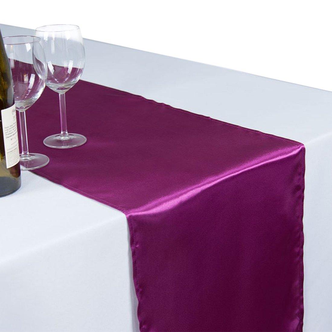 リネンテーブルクロス 14 x 108インチ サテンテーブルランナー パープルワイン×   B07487RS81
