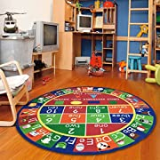 "Furnish my Place 755 Abc with Shape Kids Alphabet Numbers Educational Area Rug, 33"" Round, Multicolor"