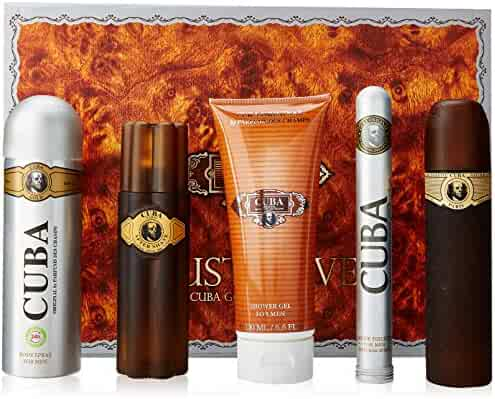Cuba Gold for Men Gift Set (Eau de Toilette Spray 3.3 Ounce, Eau de Toilette Spray 1.17 Ounce, After Shave, Deodorant Spray, Shower Gel)