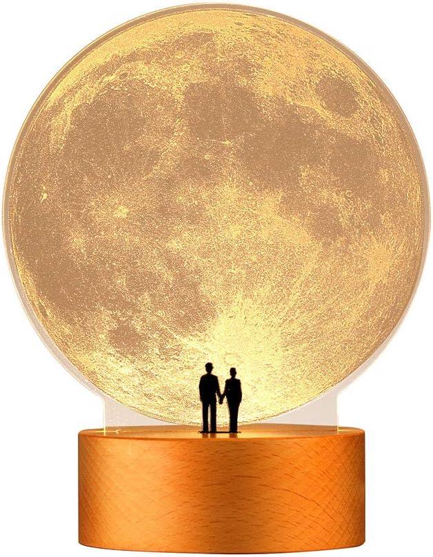 mamre Moon Night Light Anniversary Wedding Valentines Day Housewarming Gift Ideas Home Décor, Under the Supermoon of Love