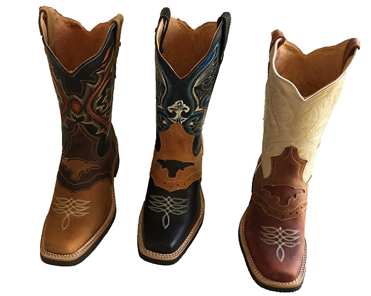 b4a50c1c9c005f Amazon.com | Men's Genuine Cow Hide Leather Cowboy Boots Square Toe Boots  Tan/Brown_9.5 | Western