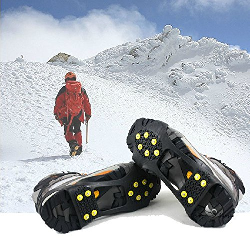 WAYPOR Ice Grips, Traction Cleats, Ice Cleat, Easy Slip On, Outdoor Durable, 10 Steel Studs, Stretchable, Prevent Slipping from Ice/Snow, Extra Studs Included in Each Package. 6