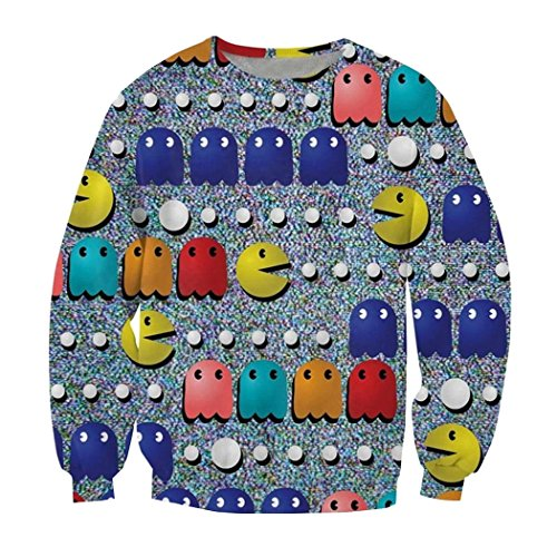 Parakeet Crewneck Sweatshirt 80s Classic Arcade Game Icon Emoji 3d Pullover L (The 80s Outfits)