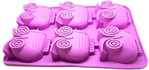 Silicone Chocolate, Jelly and Candy Mold, Non-toxic Cupcakes, 6 Owls Shapes, Non-stick, Bpa-free Food Grade with Heat Resistant up to 450° F!Microwave & Dishwasher Safe Ice Cube Tray