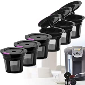 Reusable K CUP, Reusable K CUP Coffee Filter Refillable Single K CUP for Keurig 2.0 1.0 BPA Free-6 Packs r