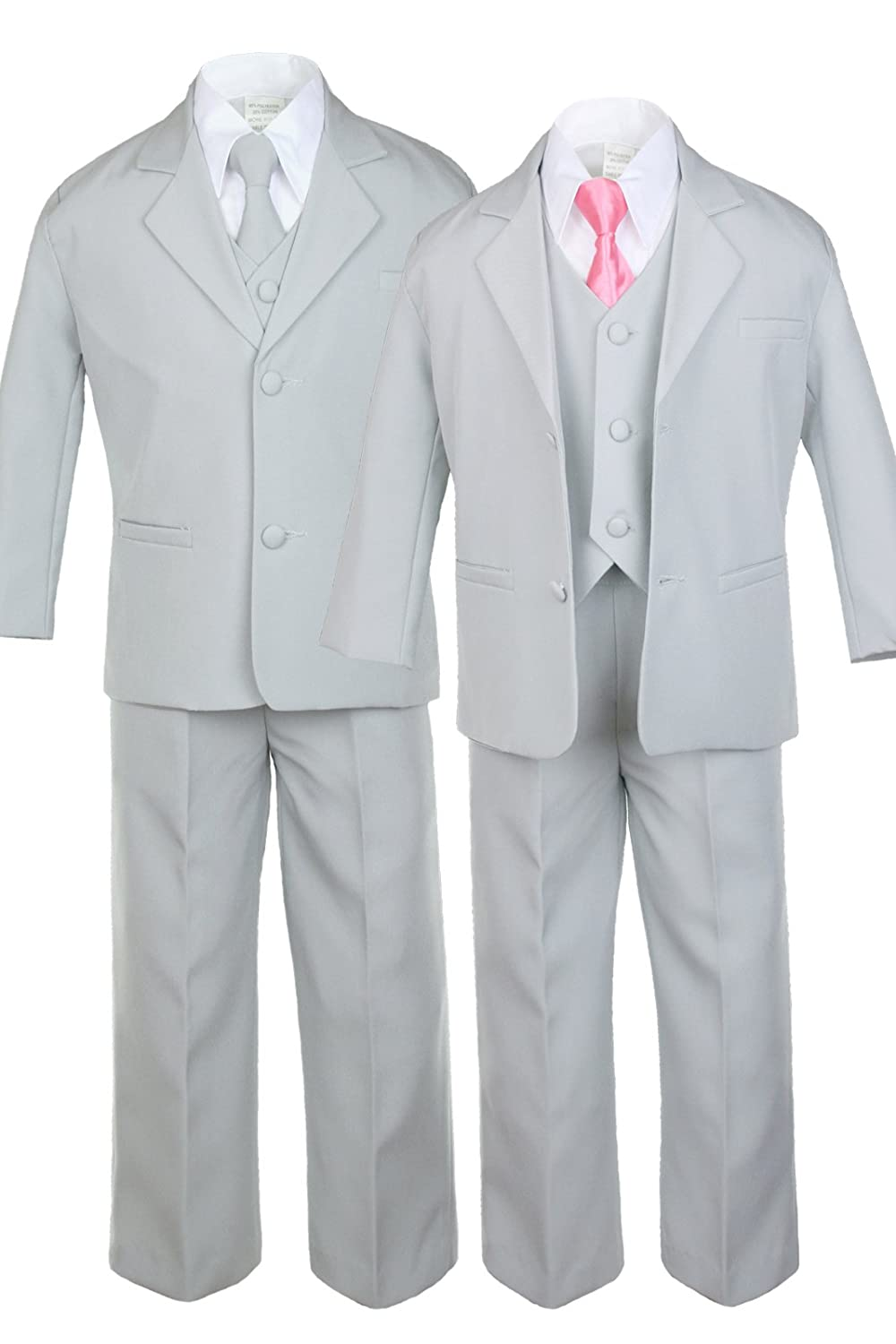 Unotux 6pc Boys Gray Tuxedo Suits with Satin Coral Red Necktie from Baby to Teen