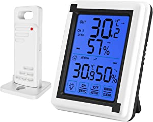 ORIA Indoor Outdoor Thermometer Humidity, Digital Wireless Hygrometer with Touchscreen and Backlight, Temperature Humidity Monitor, Large LCD Screen, Min and Max Records for Home, Office, Greenhouse
