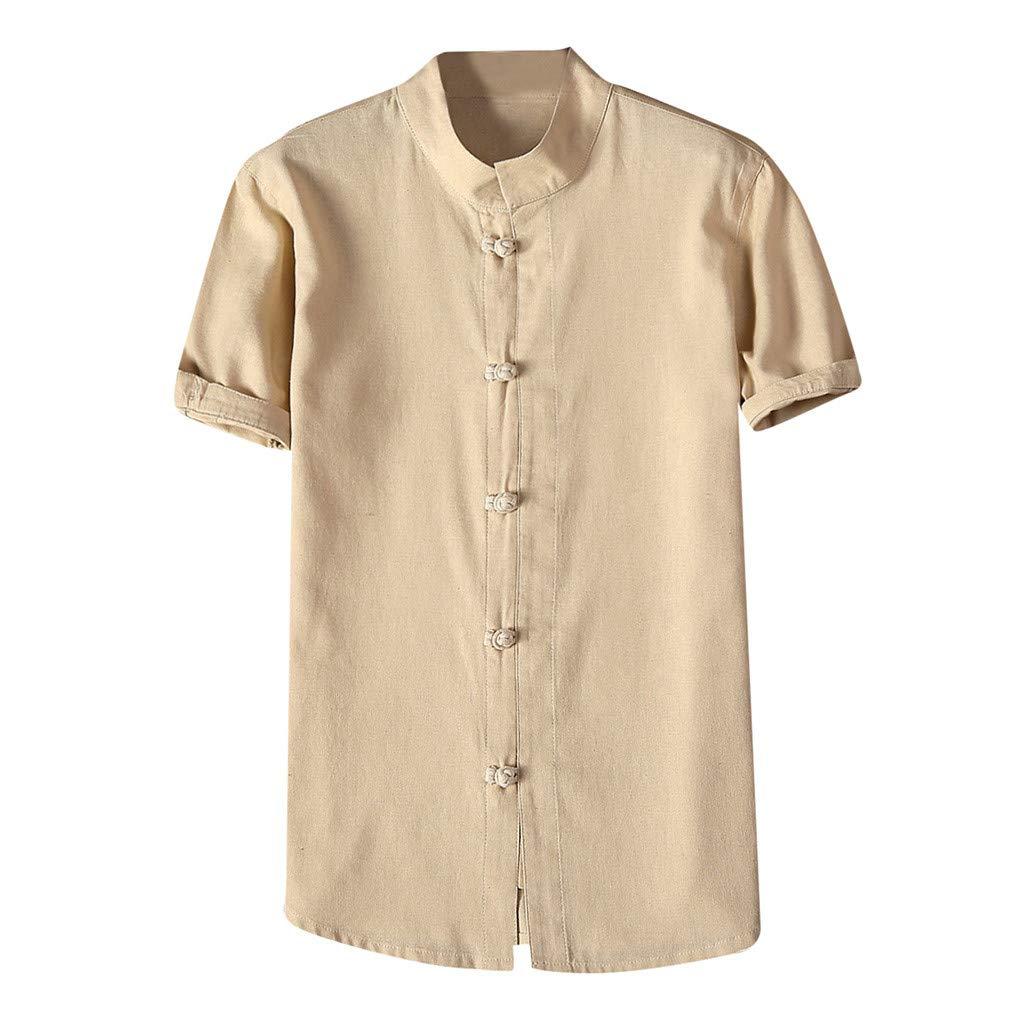 Shirt for Men, F_Gotal Men's T-Shirts Fashion Summer Short Sleeve Retro Chinese Style Linen Sport Tees Blouse Tops Khaki