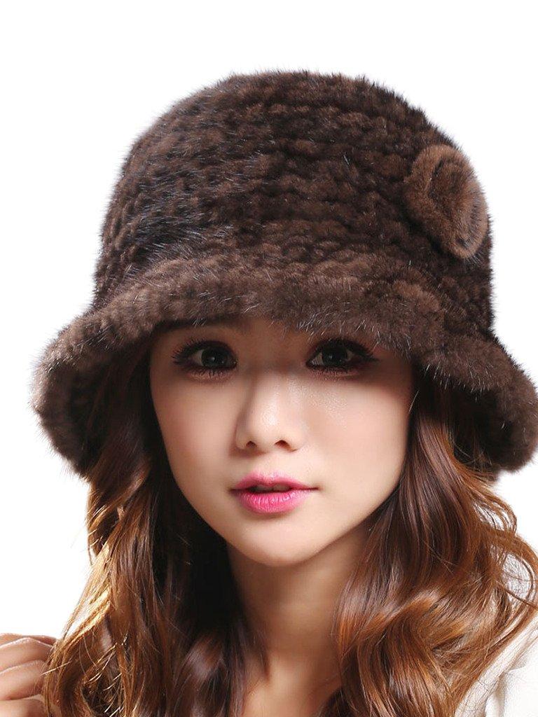 LITHER Women's Trendy Warm Stretch Real Mink Fur Bucket Winter Hat Cap(Brown)