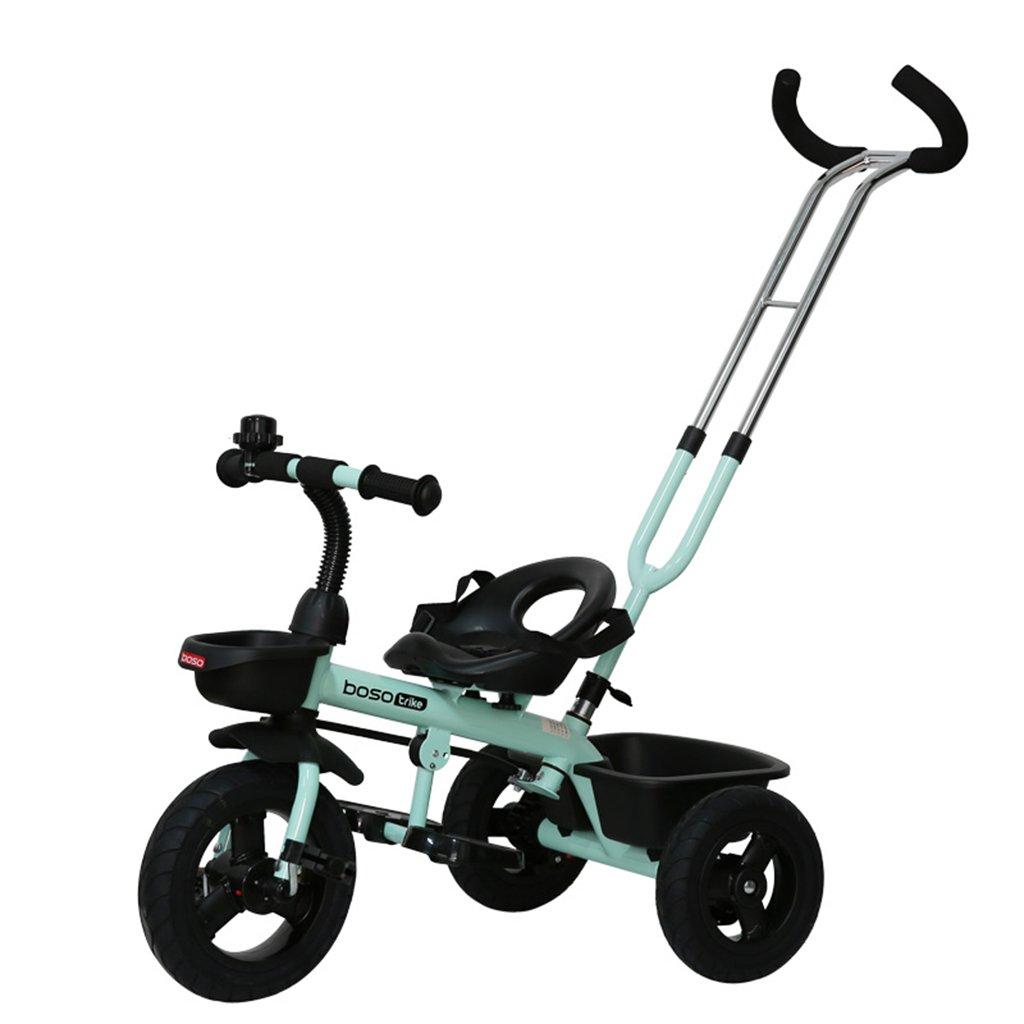 HAIZHEN マウンテンバイク 子供用三輪車フロントホイールクラッチ非膨張式チタン空ホイールバイクダブルブレーキダブルプッシュロッドベビーバイク 新生児 B07DL68K2X 青 青