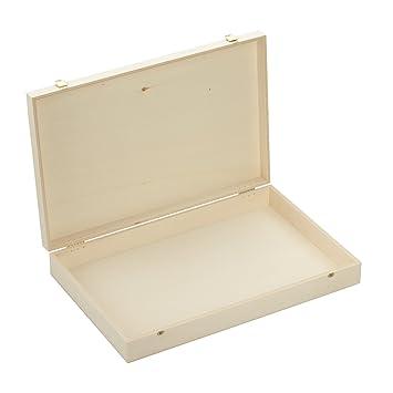 Amazon.de: Holzbox mit Klappdeckel - Maße: ca. 400 x 261 x 63 mm ...