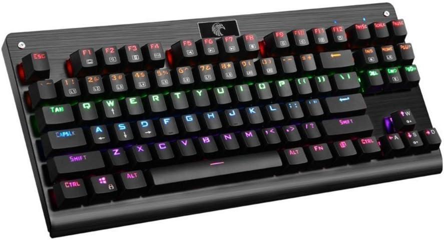 Teclado Negra mecánica Águila Z de 77 más colores Introdujo Hint erleuchteten mmechanisch Gaming de teclado con interruptor azules, experimentar 87 ...