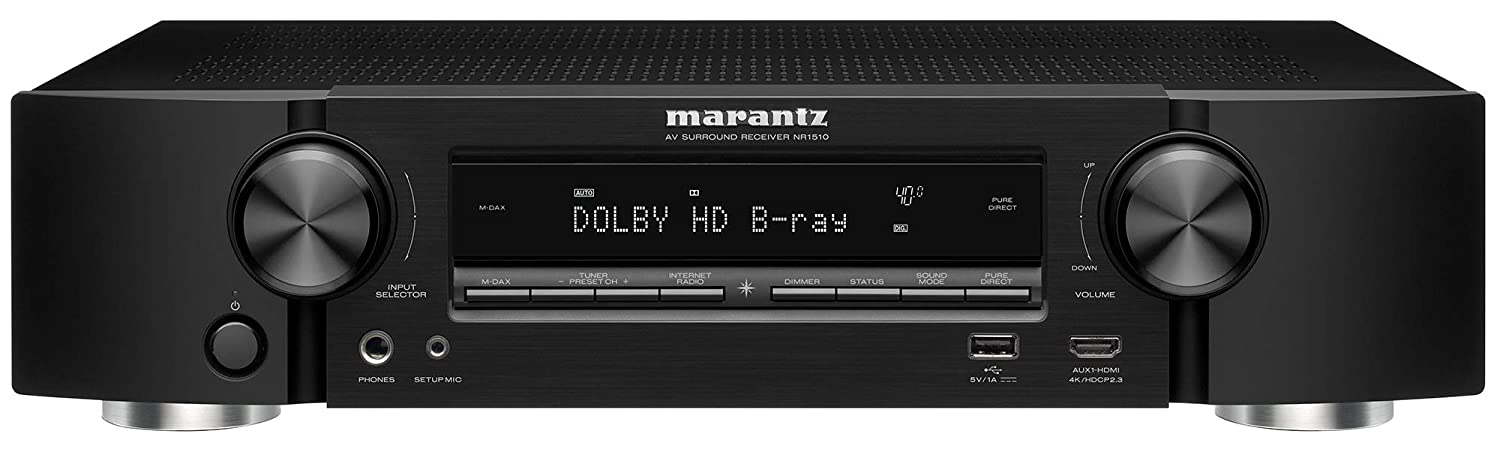 Marantz NR1510 UHD AV Receiver (2019 Model) – Slim 5.2 Channel Home Theater Amplifier, Dolby TrueHD and DTS-HD Master Audio | Alexa Compatible | Stream Music via Wi-Fi, Bluetooth and HEOS