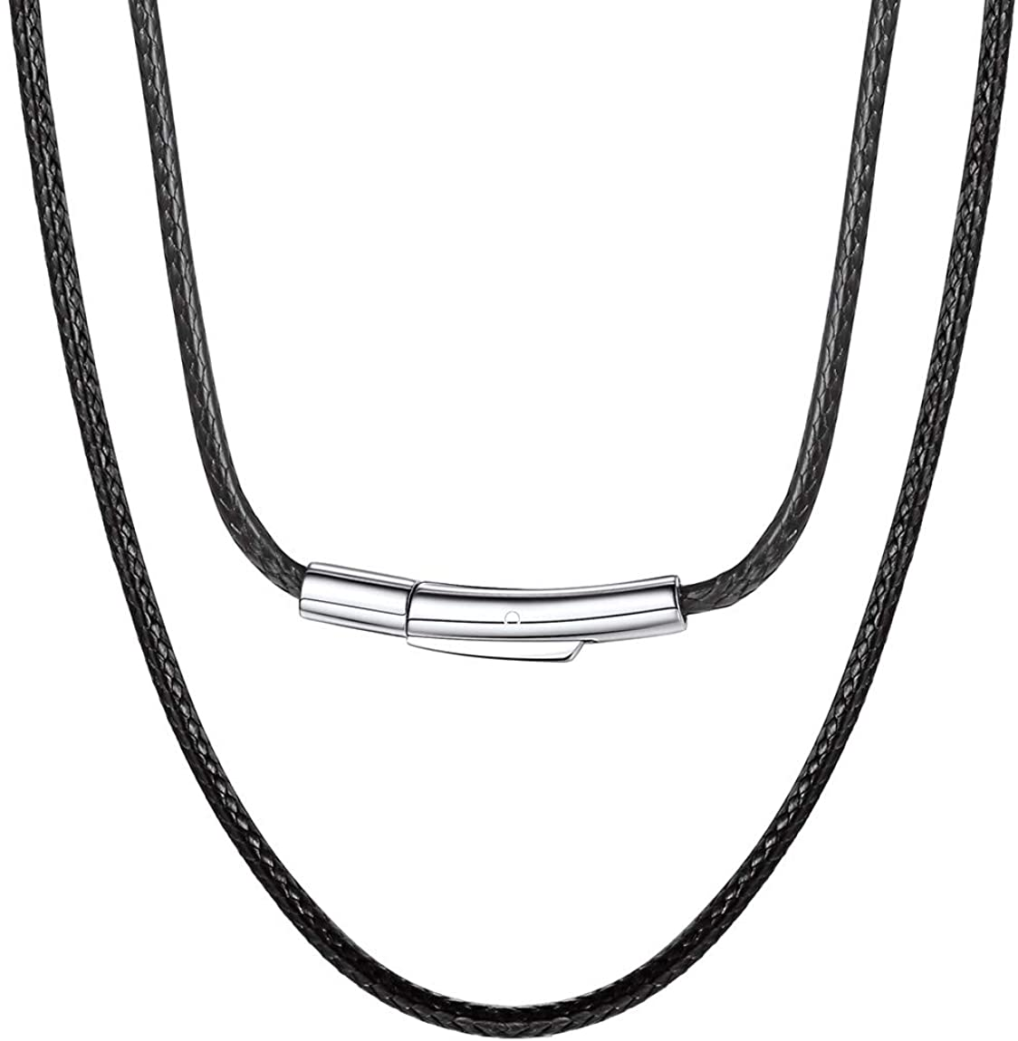 """ChainsPro Can Engrave, Waterproof Braided Leather Necklace Wax Rope Chain, 2/3mm Width Replacement Chain, with Durable Snap Clasp, 16""""18"""" 20"""" 22"""" 24"""" 26"""" 28"""" 30""""-(Send Gift Box)"""