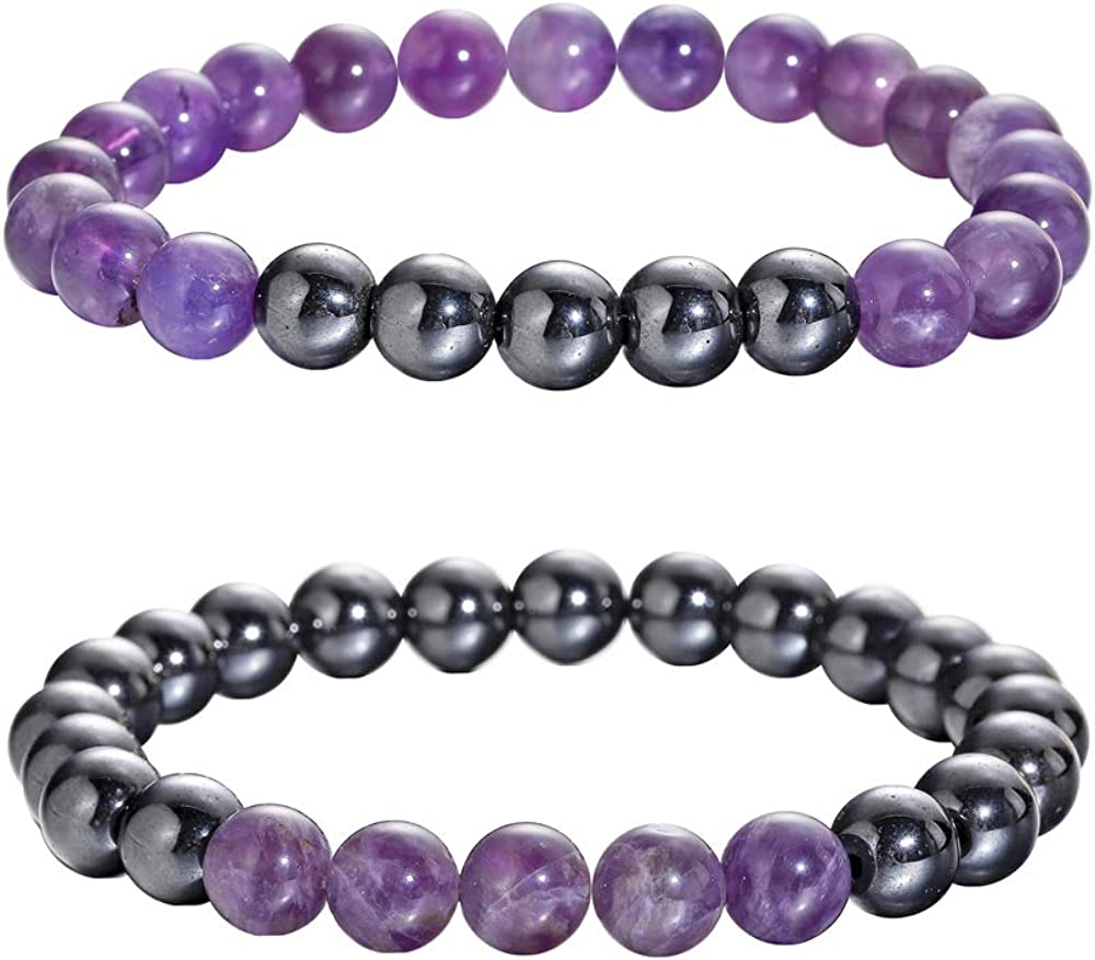 Healing Gemstone bracelet Gift for Him Stretch bracelet Mala Bracelet Black White bracelet Gemstone bracelet Hematite Howlite bracelet
