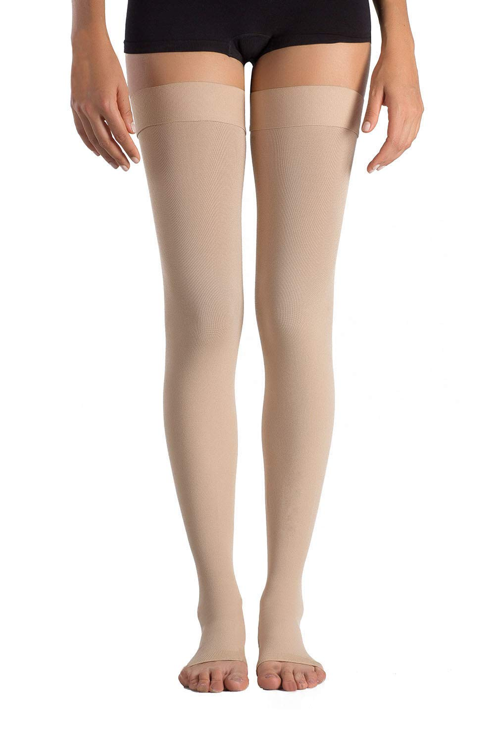 +MD Thigh High Graduated Compression Stockings Open-Toe 23-32mmHg Firm Medical Support Socks for Varicose Veins, Edema, Spider Veins Nudes