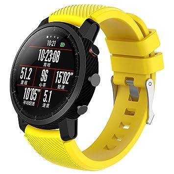Correa de reloj para HUAMI Amazfit Stratos Smart Watch 2, VNEIRW; color brillante, silicagel suave , amarillo, Band length: 190MM: Amazon.es: Deportes y ...