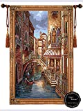 Beautiful Canal with Shops Fine Tapestry Jacquard Woven Wall Hanging Art Decor