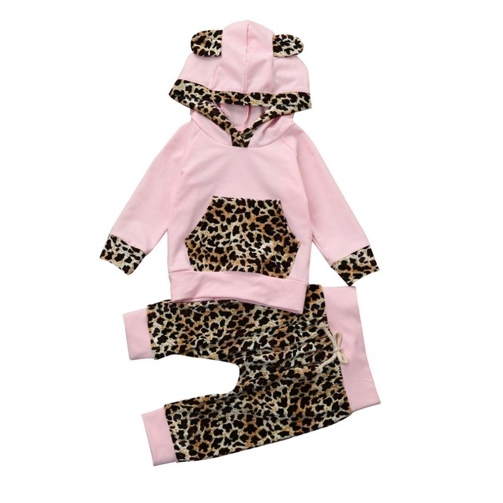 Muium Toddler Infant Newborn Baby Leopard Print Hoodie Tops+Pants Outfits Boys Girls Clothes Set For Casual, Daily, Party or Bedroom