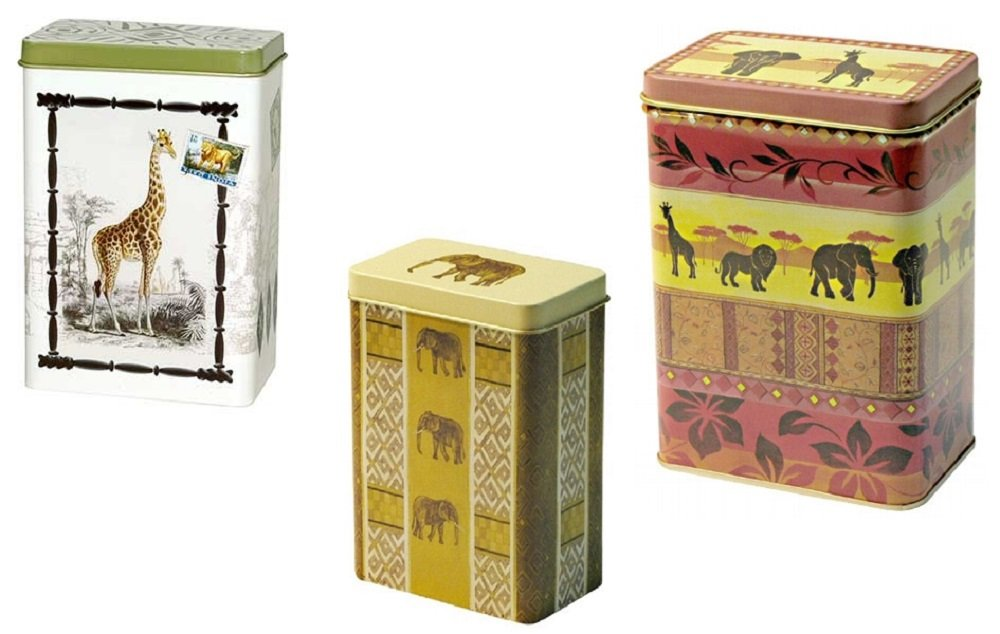 Set Safari Africa Set of 3 Giraffe Elephant 100 g Tin 250 g Tin Tea Caddy TM