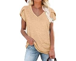 WIHOLL Womens Tops V Neck Summer Petal Sleeve Casual Tshirts