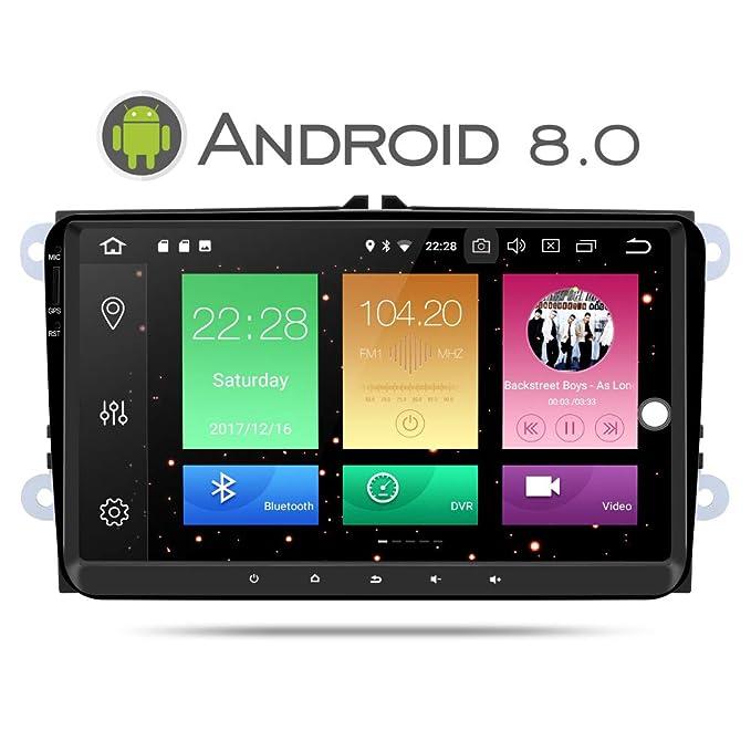 Yingly Android 8.0 Autoradio GPS para VW Golf Seat Jetta Passat Polo Skoda Series Soporta Radio/ Bluetooth/ Wifi / Subwoofer / DAB/ Control de Volante ...